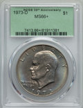 Eisenhower Dollars, 1973-D $1 MS66+ PCGS. PCGS Population: (335/12 and 20/0+). NGC Census: (73/2 and 0/0+). Mintage 2,000,000. ...