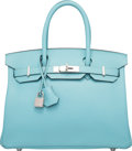 "Luxury Accessories:Bags, Hermes 30cm Blue Atoll Epsom Leather Birkin Bag with PalladiumHardware. T, 2015. Pristine Condition. 12"" Width x 8""Heigh..."