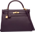 "Luxury Accessories:Bags, Hermes 32cm Raisin Clemence Leather Retourne Kelly Bag with GoldHardware. R Square, 2014. Pristine Condition. 12.5"" Width..."