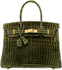 Hermes 30cm Shiny Vert Veronese Nilo Crocodile Birkin Bag with Gold Hardware T, 2015 Pristine C