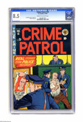 """Golden Age (1938-1955):Crime, Crime Patrol #10 (EC, 1949) CGC VF+ 8.5 Cream to off-white pages. Looks like the law has the the last laugh on this cool """"pr..."""