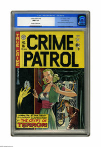 Crime Patrol #16 Gaines File pedigree (EC, 1950) CGC NM+ 9.6 Off-white to white pages. The Crypt Keeper makes his second...