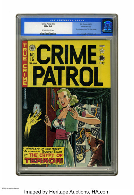Crime Patrol #16 Gaines File pedigree (EC, 1950) CGC NM+ 9.6 Off-white to white pages. The Crypt Keeper makes his second app...