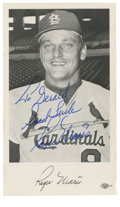 """Autographs:Photos, Roger Maris Single Signed Photograph. Known forever as the playerto hit 61 home runs in 1961, Roger Maris adorned the 3x5""""..."""