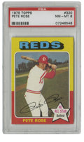 Baseball Cards:Singles (1970-Now), 1975 Topps Pete Rose #320 PSA NM-MT 8. The game's all-time Hit King is seen here as a young slugger with the Big Red Machine...