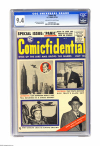 Panic #9 (EC, 1955) CGC NM 9.4 Off-white to white pages. Superman, Dick Tracy, and Smilin' Jack all make a cover appeara...