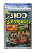 "Golden Age (1938-1955):Horror, Shock SuspenStories #1 Aurora pedigree (EC, 1952) CGC VF 8.0Off-white pages. ""Shocking"" is indeed the word for this classic..."