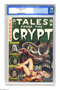 Golden Age (1938-1955):Science Fiction, Tales From the Crypt #32 (EC, 1952) CGC NM 9.4 Off-white pages.Jack Davis drew this issue's horror cover (demonstrating in ...