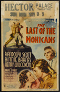 "Movie Posters:Adventure, The Last of the Mohicans (United Artists, 1936). Window Card (14"" X22""). Adventure. ..."