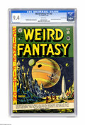 "Golden Age (1938-1955):Science Fiction, Weird Fantasy 17 (#5) Gaines File pedigree (EC, 1951) CGC NM 9.4White pages. Al Feldstein gives us a great ""cigar""-shaped r..."