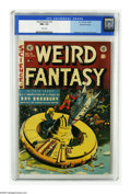 Golden Age (1938-1955):Science Fiction, Weird Fantasy #18 Gaines File pedigree 8/11 (EC, 1953) CGC NM+ 9.6White pages. What ever happened to those enormous donut-s...