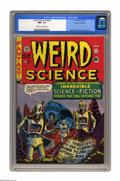 Golden Age (1938-1955):Science Fiction, Weird Science #14 (#3) Gaines File pedigree 8/11 (EC, 1950) CGC NM+ 9.6 Off-white to white pages. EC loved post-apocalyptic ...