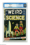 "Golden Age (1938-1955):Science Fiction, Weird Science #7 5/10 (EC, 1951) CGC NM+ 9.6 Off-white pages. AlFeldstein contributes a colorful ""landing party"" cover, fea..."