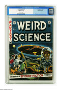 "Golden Age (1938-1955):Science Fiction, Weird Science #16 Gaines File pedigree 2/11 (EC, 1952) CGC NM/MT9.8 Off-white pages. It's ""Invaders from Mars"" time, as you..."