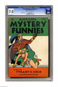 Golden Age (1938-1955):Science Fiction, Amazing Mystery Funnies V1#1 (Centaur, 1938) CGC FN/VF 7.0 Cream tooff-white pages. This issue's cover is quite significant...