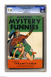 Amazing Mystery Funnies V1#1 (Centaur, 1938) CGC FN/VF 7.0 Cream to off-white pages. This issue's cover is quite signifi...