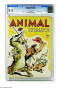 Golden Age (1938-1955):Funny Animal, Animal Comics #1 Carson City pedigree (Dell, 1942) CGC VF 8.0Off-white to white pages. Notable for featuring the first appe...