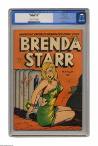 """Brenda Starr #14 """"D"""" Copy pedigree (Four Star, 1948) CGC VF/NM 9.0 Cream to off-white pages. Is it hot in here..."""