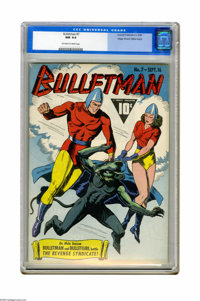 """Bulletman #7 Mile High pedigree (Fawcett, 1942) CGC NM 9.4 Off-white to white pages. Beginning in this issue are """"G..."""