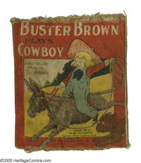 """Buster Brown Muslin Series: """"Buster Brown Plays Cowboy"""" (Saalfield Publishing Co., 1907) Condition: GD. """"..."""