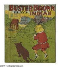 "Buster Brown Muslin Series: ""Buster Brown Plays Indian"" (Saalfield Publishing Co., 1907) Condition: VF. Called..."