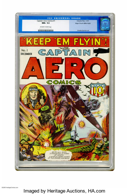 Captain Aero Comics #1 Mile High pedigree (Holyoke Publications, 1941) CGC NM+ 9.6 Off-white to white pages. Flag-Man and So...