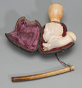 , A Cased Carved Meerschaum Pipe of a Moorish Man, late 19th century.3-1/2 h x 6-1/2 w inches (8.9 x 16.5 cm). ...