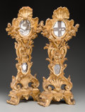 Decorative Arts, Continental, A Pair of Continental Baroque-Style Carved Giltwood and MirroredAltar Monstrances, 18th century. 26 inches high (66.0 cm). ...(Total: 2 Items)
