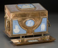 Miscellaneous, An English Neoclassical Brass and Jasperware Letter Box and Pen rest with Silver Pen, late 19th century. 6 x 5-1/4 x 5 inche... (Total: 3 Items)