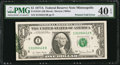 Error Notes:Foldovers, Fr. 1910-I $1 1977A Federal Reserve Note. PMG Extremely Fine 40EPQ.. ...