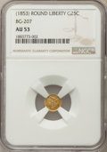 California Fractional Gold , Undated 25C Liberty Round 25 Cents, BG-207, High R.5, AU53 NGC. NGCCensus: (1/11). PCGS Population: (0/33). ...