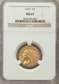 Indian Half Eagles: , 1910 $5 MS63 NGC. NGC Census: (1008/339). PCGS Population: (663/278). CDN: $950 Whsle. Bid for problem-free NGC/PCGS MS63. ...