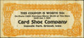 Obsoletes By State:Iowa, Grinnell, IA- Card Shoe Company 50¢ Ad Note Jan. 1, 1921.. ...