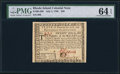 Colonial Notes:Rhode Island, Rhode Island July 2, 1780 $20 PMG Choice Uncirculated 64 EPQ.. ...
