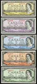 Canadian Currency: , $1-$20 1954. . ... (Total: 5 notes)