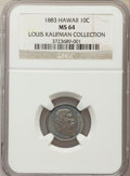 Coins of Hawaii , 1883 10C Hawaii Ten Cents MS64 NGC....