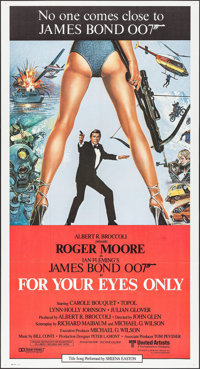 """For Your Eyes Only (United Artists, 1981). International Three Sheet (41"""" X 77""""). James Bond"""