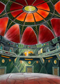 "Animation Art:Painted cel background, Iron Man ""Skrull Planet War Room"" Background Color Key(Marvel Films, 1995).. ..."