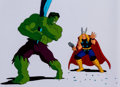 Animation Art:Production Cel, The Incredible Hulk Hulk and Thor Production Cel Setup andAnimation Drawing (Marvel Films, 1995).... (Total: 3 )