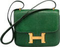 """Luxury Accessories:Bags, Hermes 18cm Vert Emerald Salvator Lizard Constance Bag with GoldHardware. O Circle, 1985. Good to Very Good Condition. 7""""..."""