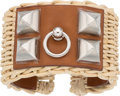 Luxury Accessories:Accessories, Hermes Limited Edition Fauve Barenia Leather & Osier WickerPicnic Medor Manchette Bracelet. X, 2016. PristineConditi...