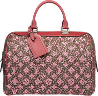 Louis Vuitton Limited Edition Red Leather & Wool Monogram Sunshine Express Speedy 30 Bag Excellent to Pristine