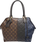 Luxury Accessories:Bags, Louis Vuitton Limited Edition Black & Marine Monogram Empreinte Leather and Classic Monogram Canvas Blocks Zip Tote Bag. E...