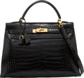 Luxury Accessories:Bags, Hermes 32cm Shiny Black Porosus Crocodile Sellier Kelly Bag withGold Hardware. X Circle, 1994. Very Good Condition...