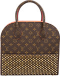 Luxury Accessories:Bags, Louis Vuitton by Christian Louboutin Celebrating MonogramCollection Classic Monogram Canvas & Red Calf Hair ShoppingBag. ...