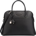 Luxury Accessories:Bags, Hermes 37cm Black Vache Liegee Leather Sellier Bolide Bag withPalladium Hardware. Very Good to Excellent Condition.1...