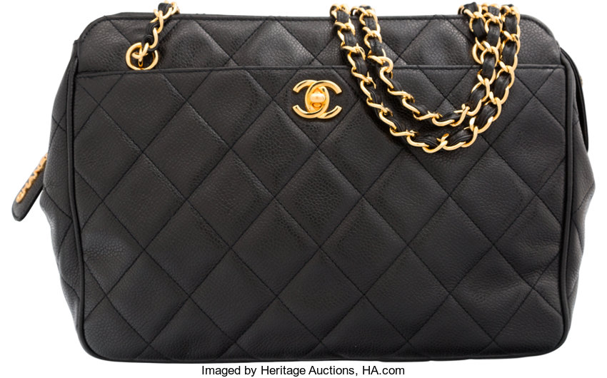 8be905ba7d39 Very Good toExcellent; Luxury Accessories:Bags, Chanel Black Quilted Caviar  Leather Shoulder Bag.