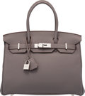 "Luxury Accessories:Bags, Hermes 30cm Etain Togo Leather Birkin Bag with Palladium Hardware.R Square, 2014. Pristine Condition. 12"" Widthx..."