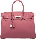 "Luxury Accessories:Bags, Hermes 35cm Bois de Rose Fjord Leather Birkin Bag with Palladium Hardware. R Square, 2014. Pristine Condition. 14"" Width x..."