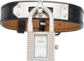 """Luxury Accessories:Accessories, Hermes Stainless Steel & Diamond Kelly PM Watch with ShinyBlack Alligator Band. Excellent to Pristine Condition.0.5""""..."""